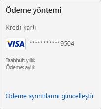 Abonelik sayfasında Ödeme ayrıntılarını güncelleştir bağlantısının gösterildiği Ödeme yöntemi bölümü.