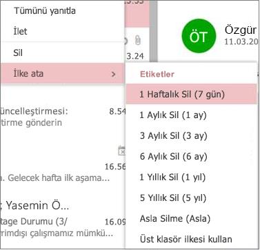 Web üzerinde Outlook'ta gruplar örnek bekletme ilkeleri görüntüsü