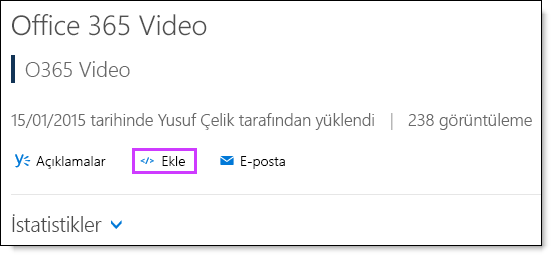 Office 365 Video kodu ekleme