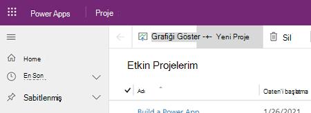 Project Power Uygulamasındaki Yeni Proje düğmesi