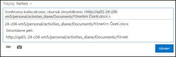 Haber akışı gönderisine yapıştırılmış Belge URL'si