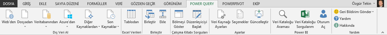 Power Query şeridi