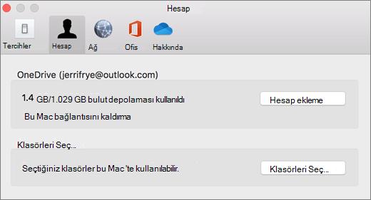 Mac 'te OneDrive tercihlerinde hesap ekleme ekran görüntüsü