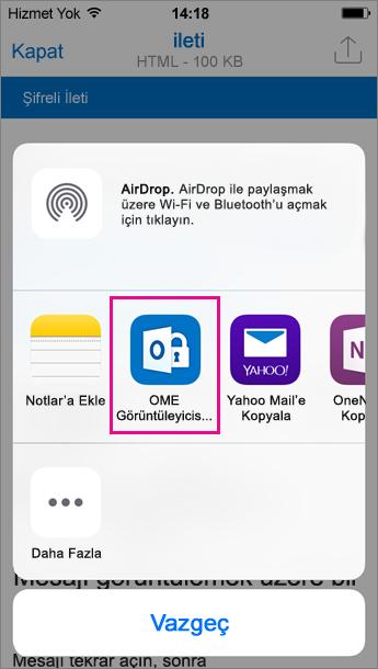 Outlook için iOS 3 OME Görüntüleyicisi
