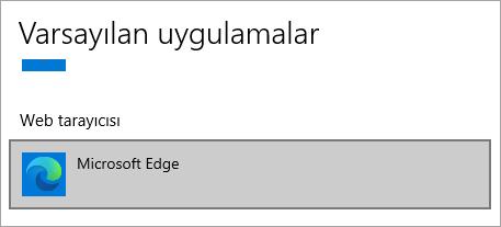 Microsoft Edge varsayılan tarayıcısı