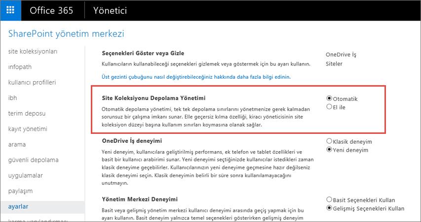 Site Koleksiyonu Yönetimi vurgulanmış Office 365 SharePoint Online Ayarları Ekranı