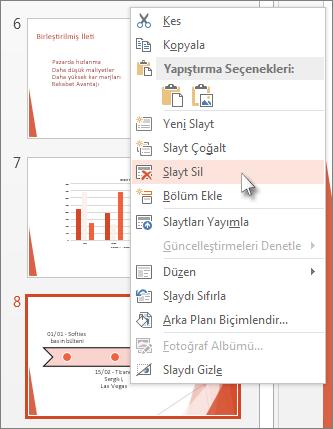 PowerPoint'te bir slayt küçük resmine sağ tıklayın ve Slaydı Sil'e tıklayın.
