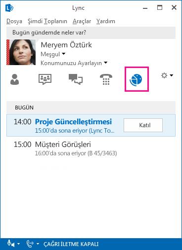 Lync toplantı ortamının ekran görüntüsü