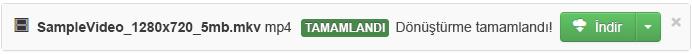 Dönüştürme işlemi bittiğinde, dönüştürülmüş medya dosyasını bilgisayarınıza geri kopyalayabileceğinizi gösteren yeşil bir İndir düğmesi görüntülenir