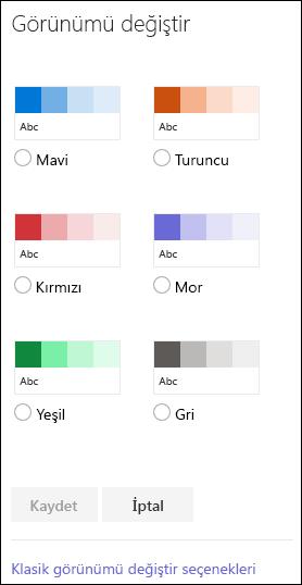 Sitenin görünümünü değiştirmeye yönelik SharePoint renk seçeneklerini gösteren ekran görüntüsü.