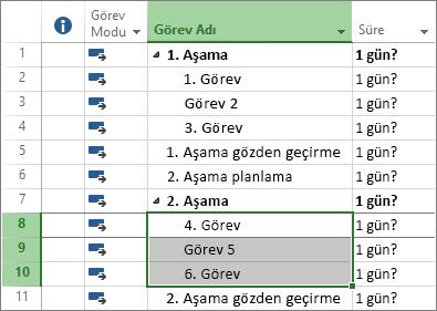 Bir proje planında ana hatları belirlenmiş görevlerin ekran görüntüsü.
