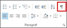 'Biçimlendirme İşaretlerini Göster/Gizle' komutunun düğmesi, paragraf işaretine benzer.