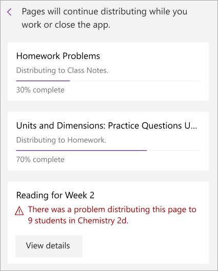 Sınıf Not defteri 'nde sayfa dağıtılırken gösterilen bir hata.