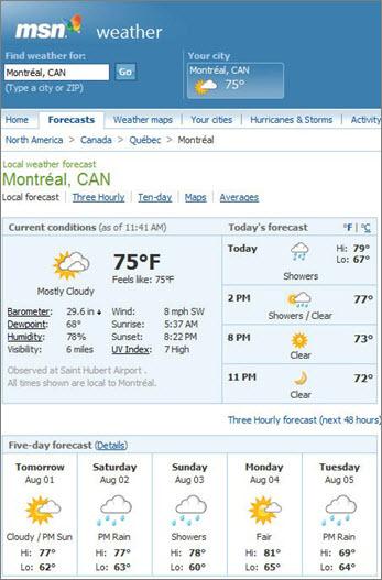 Montreal için hava tahminini gösteren MSN sayfası
