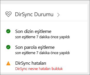 Yönetim merkezi önizlemesinde DirSync Durumu kutucuğu