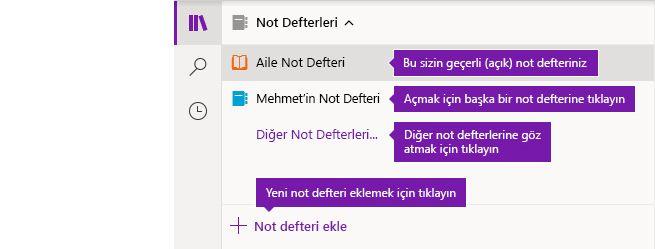 Windows 10 için OneNote'ta Not Defterleri listesi