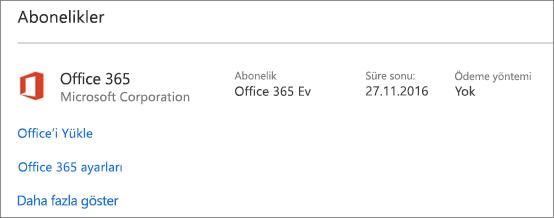 Yeni bilgisayarınızda Office 365 deneme sürümünüz yüklüyse, abonelik gösterilen tarihte sona erer