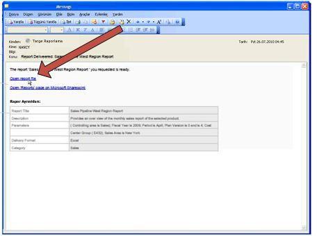Duet rapor ilettiğinde bir de e-posta bildirim iletisi gönderir.