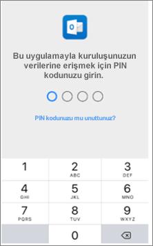 iOS cihazınızda Office uygulamalarına erişmek için PIN girin.