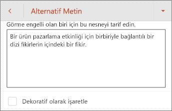 Android için PowerPoint 'te bir şekil için alternatif metin iletişim kutusu.