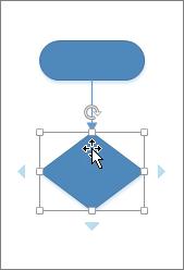 Yeni eklenen bir şeklin üzerine gelindiğinde, başka bir şekil eklemek için Otomatik Bağlantı okları görüntülenir.