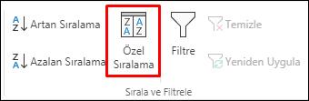 Veri sekmesindeki Excel Özel Sıralama seçeneği