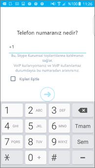 Android telefonda geri arama numarasının girildiği pencerenin ekran görüntüsü