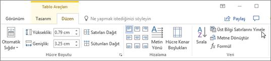 Ekran görüntüsü, veri grubundaki Düzen sekmesinde yer alan tablo araçları 'ndaki üst bilgi satırlarını tekrarlama seçeneğini gösteren imleci gösterir.