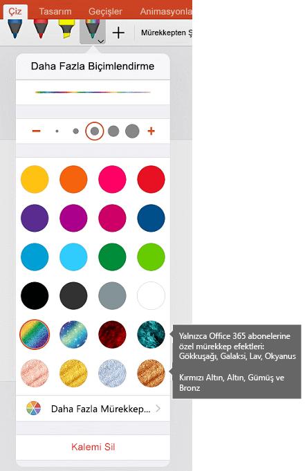 Mürekkep renkleri ve efektleri için iOS üzerinde Office Mürekkeple Çizim