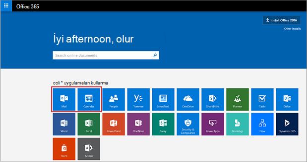 Uygulama başlatıcıda posta ve Takvim düğmeleri