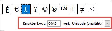 Yeri alanı, size bunun bir Unicode simgesi olduğunu belirtir