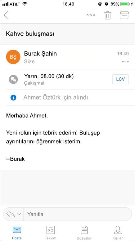 Ekran görüntüsü, posta ögesiyle bir mobil cihaz ekranı gösterir.