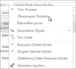 Ekran görüntüsünde Giriş Kutusu şeridinde Tümü açılan listesinden Okunmamış Posta seçeneğinin belirtildiği gösteriliyor.