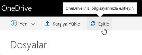 OneDrive İş Eşitle düğmesi vurgulanmış
