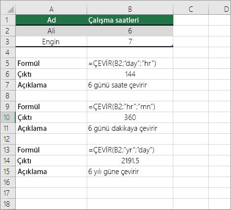 Örnek: Zaman birimleri arasında dönüştürme