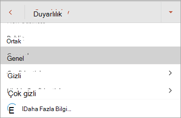 Android için Office 'te duyarlılık etiketlerinin ekran görüntüsü
