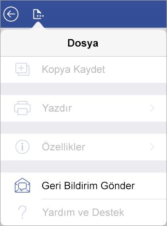 iPad üzerindeki Visio'da Geri Bildirim Gönder bağlantısının ekran görüntüsü