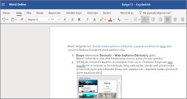 Word Web App 'te resim içeren bir belge