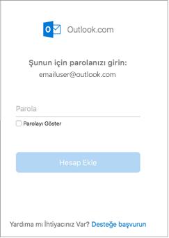 Outlook.com hesabınızın parolasını girin