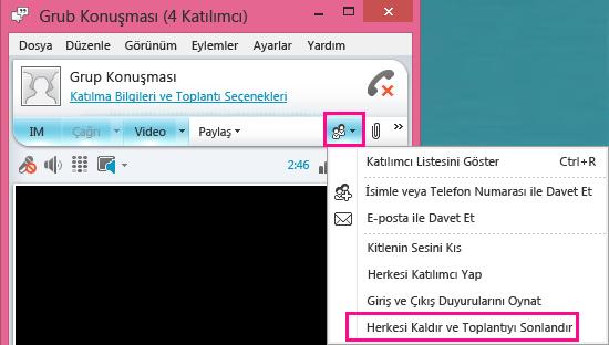 Toplantıyı Sonlandır düğmesinin ekran görüntüsü