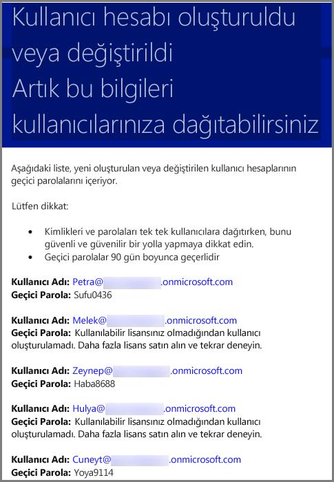 Kullanıcı kimlik bilgilerini içeren örnek e-posta