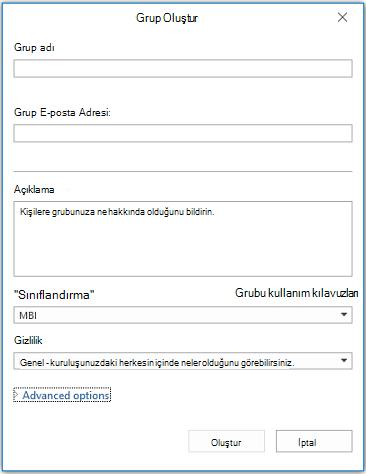Outlook'ta Yeni Grup bilgileri sayfası