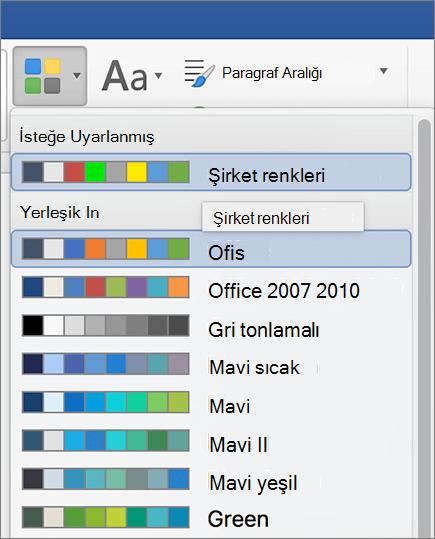 Word özel tema renkleri