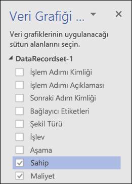 Veri Grafikleri bölmesini kullanarak Visio Veri Görselleştiricisi Diyagramı için Veri Grafiklerini Uygulama