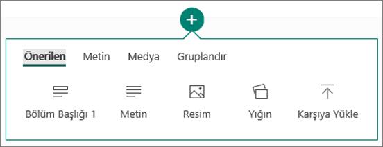 İçerik Ekle seçeneğinin ekran görüntüsü.