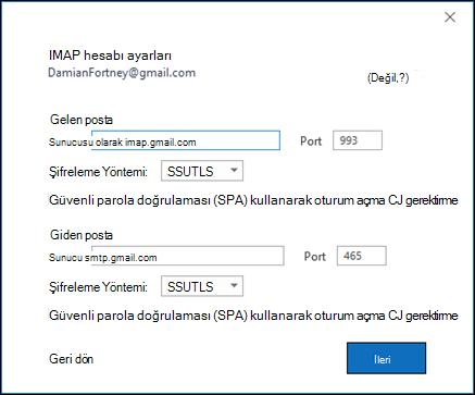 Gmail IMAP ayarlarınızı doğrulayın.