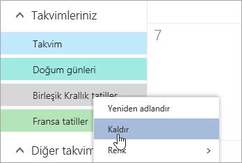 Kaldır Takvim seçeneğinin ekran görüntüsü