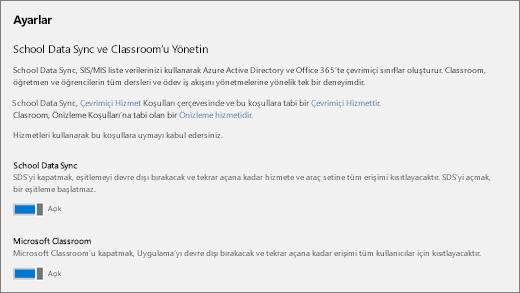 School Data Sync'te, School Data Sync'i açmaya veya kapatmaya yönelik Ayarların ekran görüntüsü.