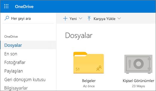 Web'de OneDrive'da Dosyalar görünümünde gösterilen Kişisel Kasanın ekran görüntüsü