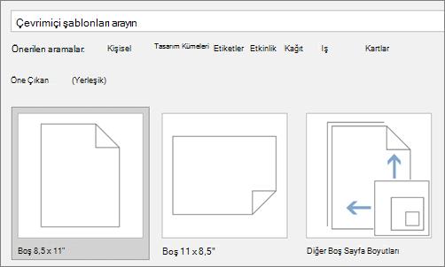 Çevrimiçi şablon Ara kutusuna yazın